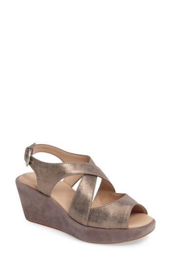 Johnston & Murphy Dana Wedge Sandal- Metallic