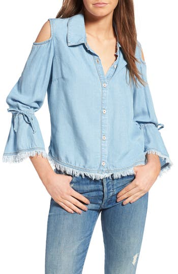 Women's Splendid Cold Shoulder Chambray Top, Size X-Small - Blue