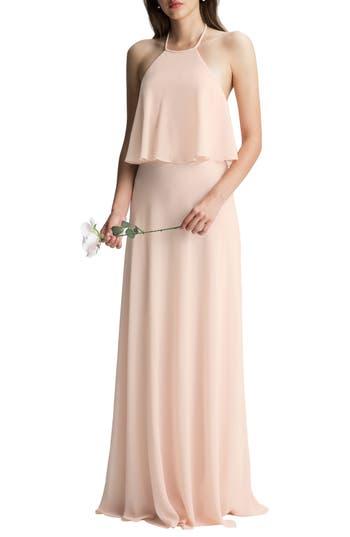 #levkoff Halter Overlay Chiffon Gown, Pink