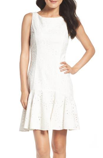 Eliza J Eyelet Fit & Flare Dress, White