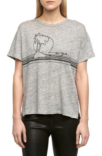 Women's Rag & Bone/jean Palm Embroidered Linen Tee