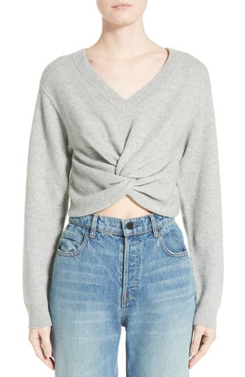T By Alexander Wang Twist Front Wool & Cashmere Sweater, Grey