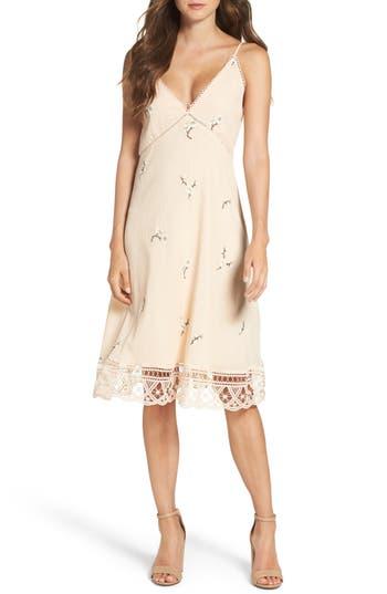Bb Dakota Haleigh Floral Embroidered Slipdress, Beige