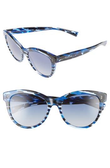 Women's Valentino 54Mm Cat Eye Sunglasses - Blue/ Spotted Havana