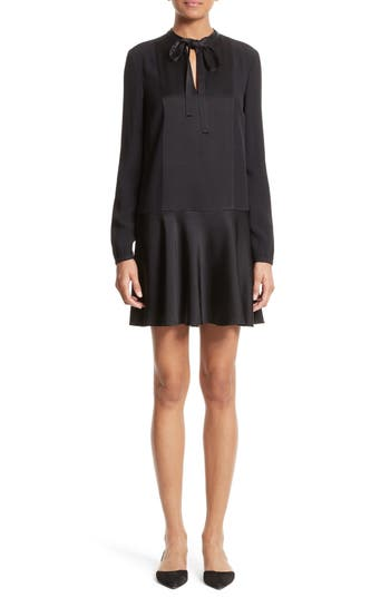 Red Valentino Crepe Envers Satin Dress, 8 IT - Black
