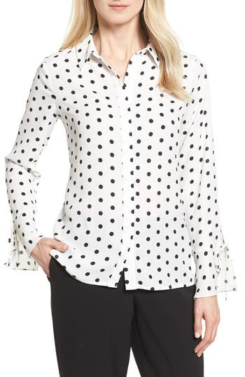 Vince Camuto Flutter Cuff Polka Dot Blouse, White