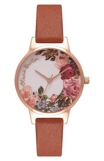 Women's Olivia Burton English Garden Leather Strap Watch, 30Mm