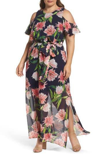 Plus Size Eliza J Floral Chiffon Cold Shoulder Maxi Dress, Blue
