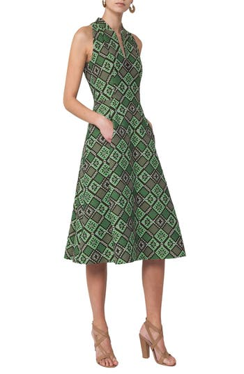 Akris Punto Jacquard Print Fit & Flare Dress