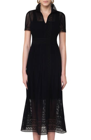 Akris Punto Lace Mesh Midi Dress