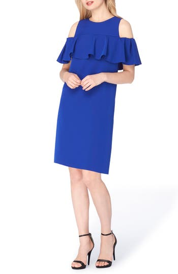 Tahari Cold Shoulder Shift Dress, Blue