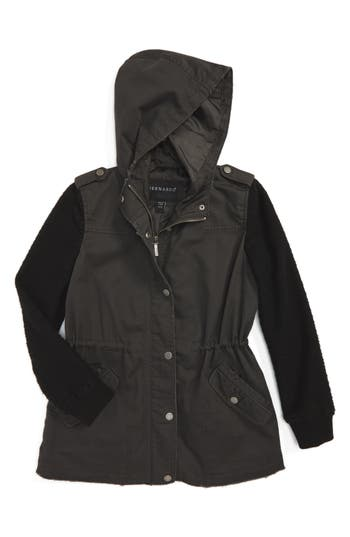 Girl's Bernardo Twill Hooded Jacket