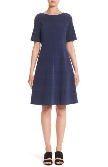 Lafayette 148 New York Tamera Perforated Fit & Flare Dress, Blue