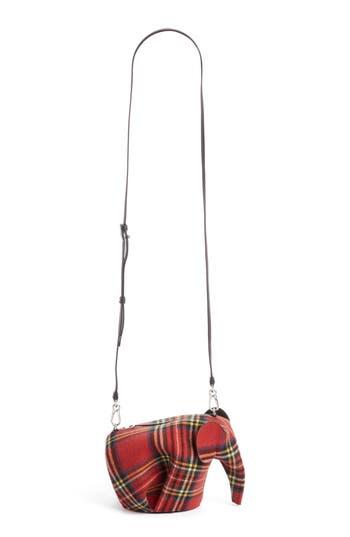 Loewe Mini Elephant Tartan Wool Crossbody Bag -