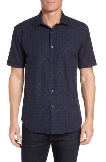 Men's Bugatchi Shaped Fit Optic Check Short Sleeve Sport Shirt