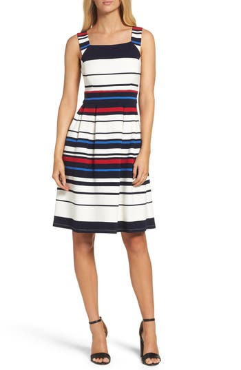 Women's Adrianna Papell Stripe Ottoman Fit & Flare Dress