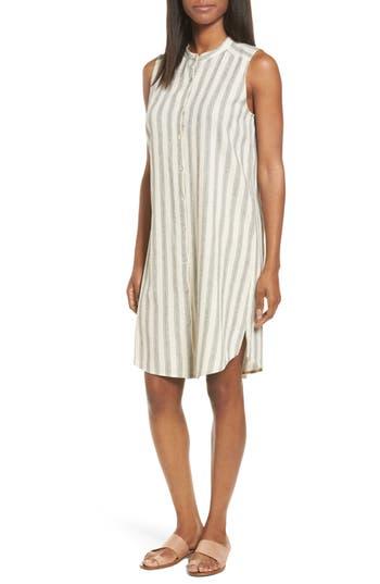Eileen Fisher Stripe Cotton & Linen Shift Dress