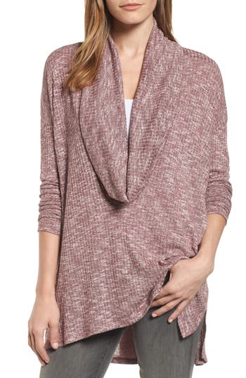 Michael Stars Deep Cowl Neck Knit Top, Size One Size - Burgundy