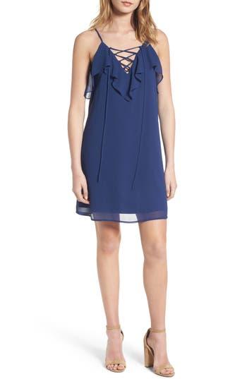 Soprano Lace-Up Camisole Dress, Blue