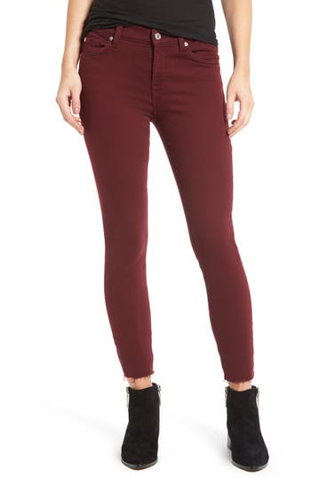 7 For All Mankind Raw Hem Ankle Skinny Jeans, 3 - Red
