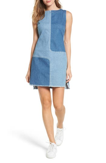 Women's Ag The Indie Two Tone Denim Dress, Size X-Small - Blue