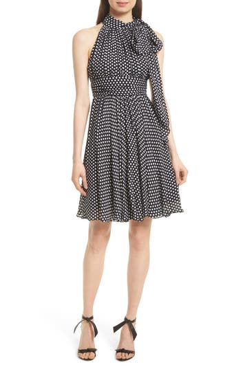 Milly Lydia Dot Print Silk Fit & Flare Dress, Black