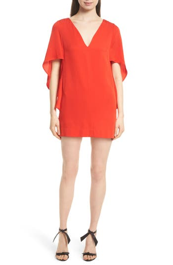 Milly Beetle Slim Stretch Silk Minidress, Size Petite - Red