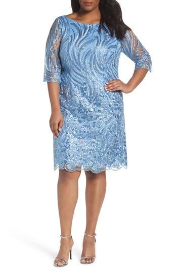 Plus Size Brianna Embellished Sheath Dress, Blue