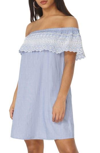 Women's Dorothy Perkins Broderie Bardot Dress, Size 10 US / 14 UK - Blue
