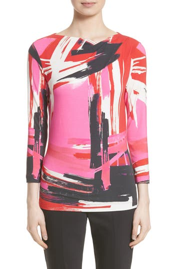 Women's St. John Collection Brushstroke Print Jersey Top