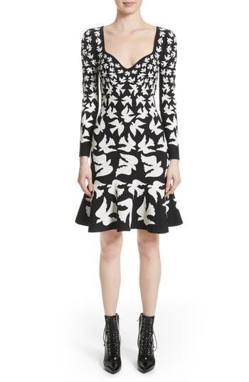 Alexander Mcqueen Bicolor Swallow Jacquard Dress, Black