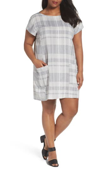 Plus Size Eileen Fisher Plaid Organic Shift Dress