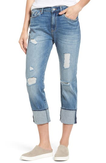 Brenda Distressed Roll Cuff Boyfriend Jeans