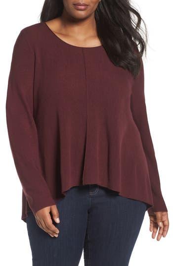Plus Size Eileen Fisher Seam Front Merino Sweater, Red
