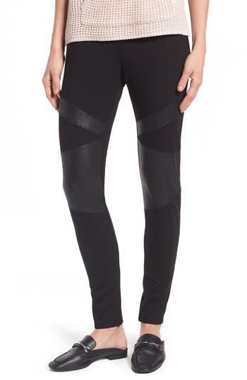 Two By Vince Camuto Lacquer Inset Moto Leggings