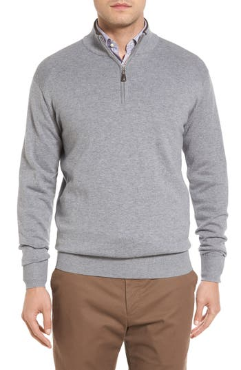 Peter Millar Mock Neck Quarter Zip Wool & Cotton Sweater, Grey