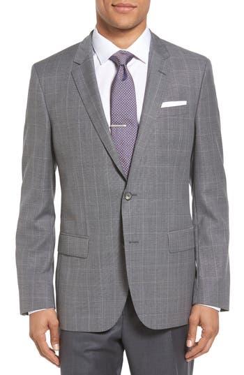 Boss Hutch 2 Trim Fit Windowpane Wool Sport Coat, S - Grey