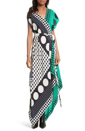 Diane Von Furstenberg Asymmetrical Scarf Maxi Dress, Size Petite - Black