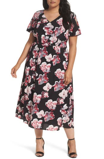 Plus Size Sejour Cold Shoulder Flared Dress, Black
