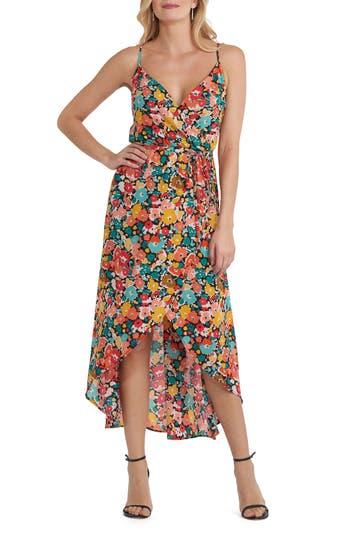 Eci Floral Print High/low Dress, Black