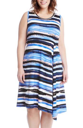 Plus Size Karen Kane Painted Stripe A-Line Dress, Blue