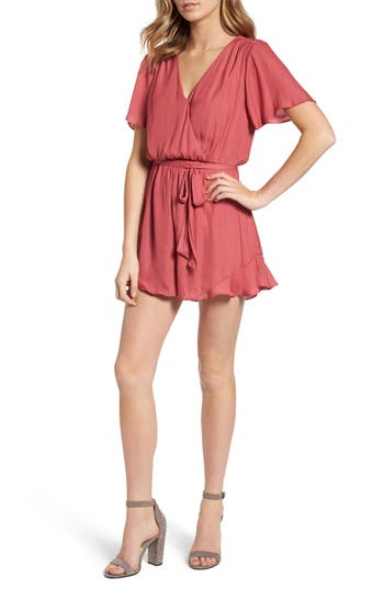 Women's Astr The Label Satin Ruffle Hem Romper, Size Large - Burgundy