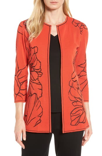 Ming Wang Embroidered Knit Jacket, Red