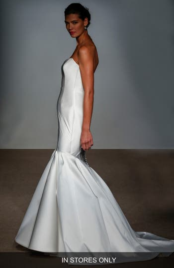 Anna Maier Couture Nara Strapless Silk Satin Mermaid Gown, Size IN STORE ONLY - White