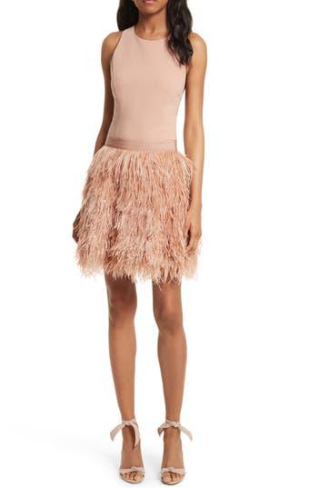 Alice + Olivia Philomena Feather Dress, Beige