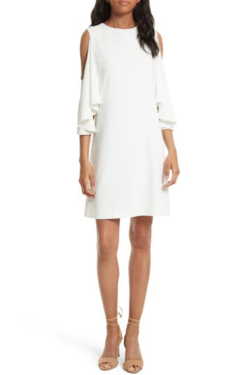 Alice + Olivia Coley Cold Shoulder A-Line Dress, Ivory