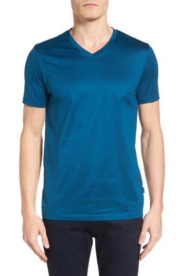 Boss Slim Fit V-Neck T-Shirt, Blue/green