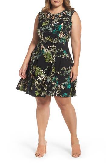Plus Size Gabby Skye Keyhole Detail Floral Fit & Flare Dress, Black