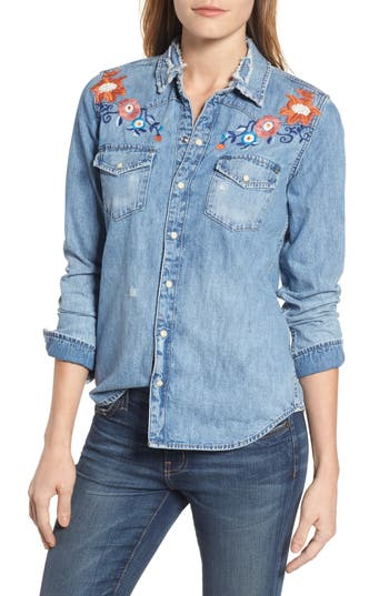 Lucky Brand Embroidered Denim Shirt, Blue
