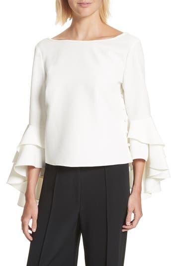 Women's Milly Annie Cascade Sleeve Stretch Cady Top, Size 0 - White